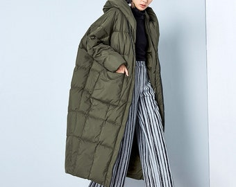 Womens Loose Fitting Winter Thickened Hooded Cocoon Down Coat Jacket, Womans Loose Down Parka, Long Down Coat For Lady, Casual Down Parka