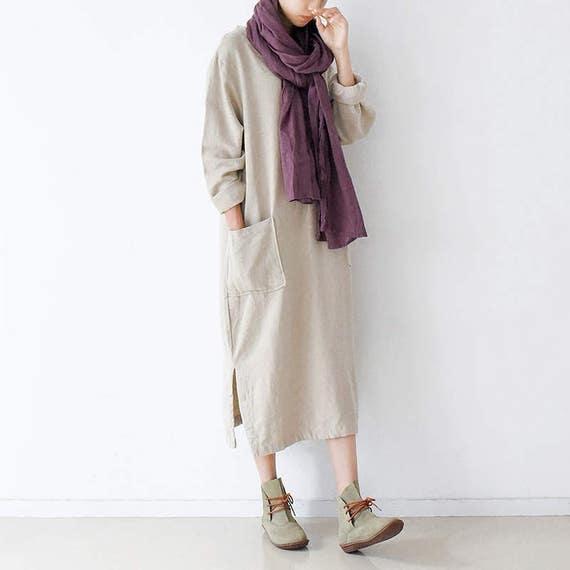 Cotton Robe Dress Neck V Dress Style Long Linen Sleeve Style Dress Autumn Loose Pockets Jacquard Dress Fitting Spring Womens Long With Robe nU0vt