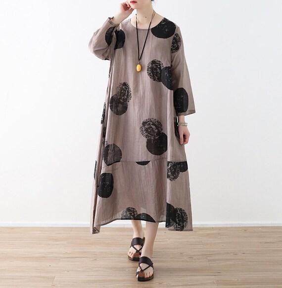 Womens Round Silk For Sleeve Dot Collar Long Summer Robe Dress Dress Long Women Loose Dress Fitting Polka Ink Casual Dress Linen Summer trWvqr