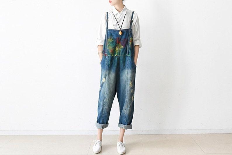 e54dde3717e Womens Retro Loose Fitting Cotton Jumpsuits Overalls Pants