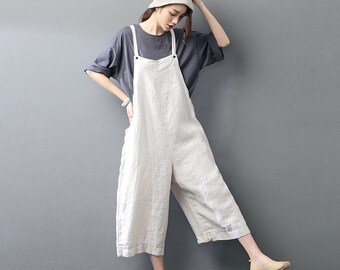 Womens Loose Fitting Comfortable Linen Jumpsuits Overalls Pants With Pockets, Womans Linen Jumpsuits Pants,Loose Pants,Casual Pants For Lady