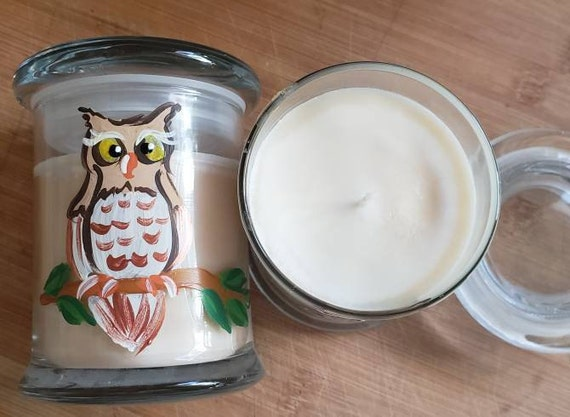 Handpainted Owl 8oz, 55-hour, Soy & Botanical Oil Candles