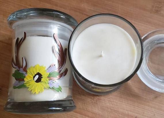 Handpainted Sunflower Antler, Amber Noir, 8oz, 55-hour, Soy & Botanical Oil Candles