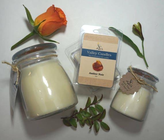 Amber Noir 14oz, 70-hour, Soy & Botanical Oil Candles **4.00 SHIPPING**
