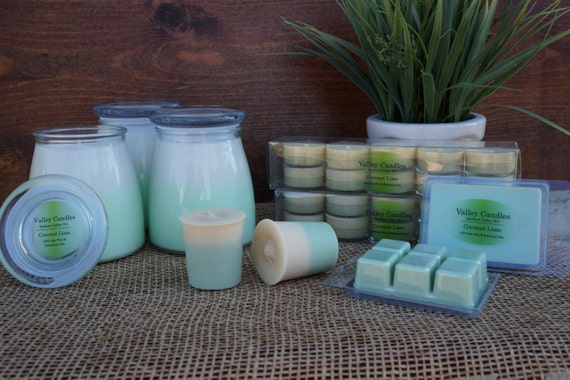 14oz Coconut Lime Candle, Burn Time 80 Hours, 100% Soy & Botanical Oil Candles