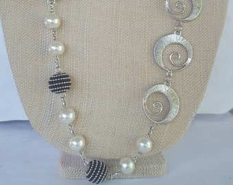 Black,  White and Silver Swirl necklace