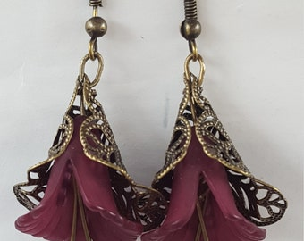 Antique gold /Maroon flower earrings