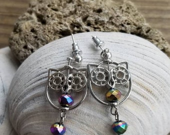 Silver Owl Earrings
