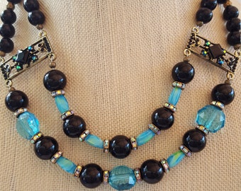Teal and Black double strand necklace