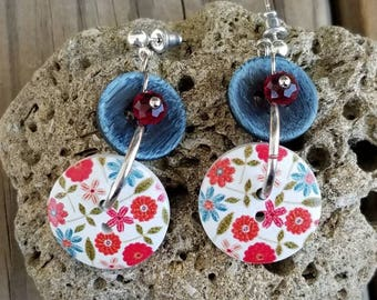 Denim and Floral Button Earrings