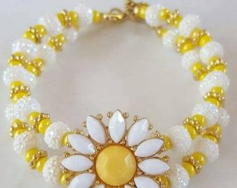 Daisy double strand bracelet