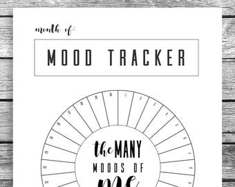 Mood tracker etsy monthly mood tracker circle bullet journal a5 journal mood chart printable pdf download track your mood instant shortcut maxwellsz