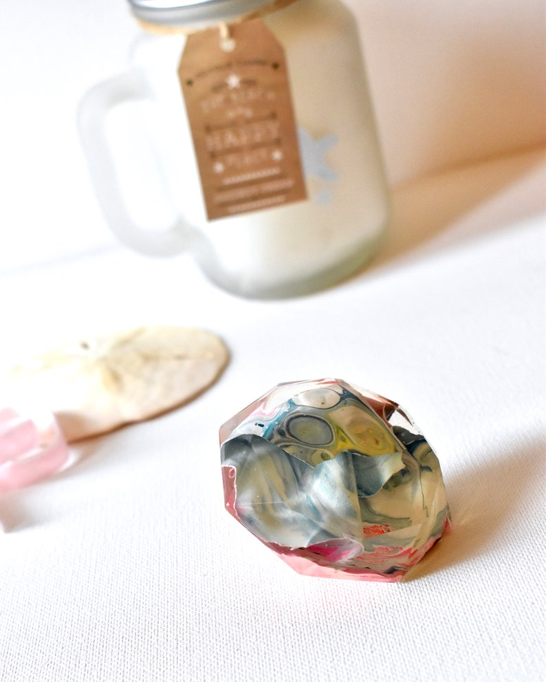 Resin Art Diamond Paperweight Tray Decor Staging Art image 0