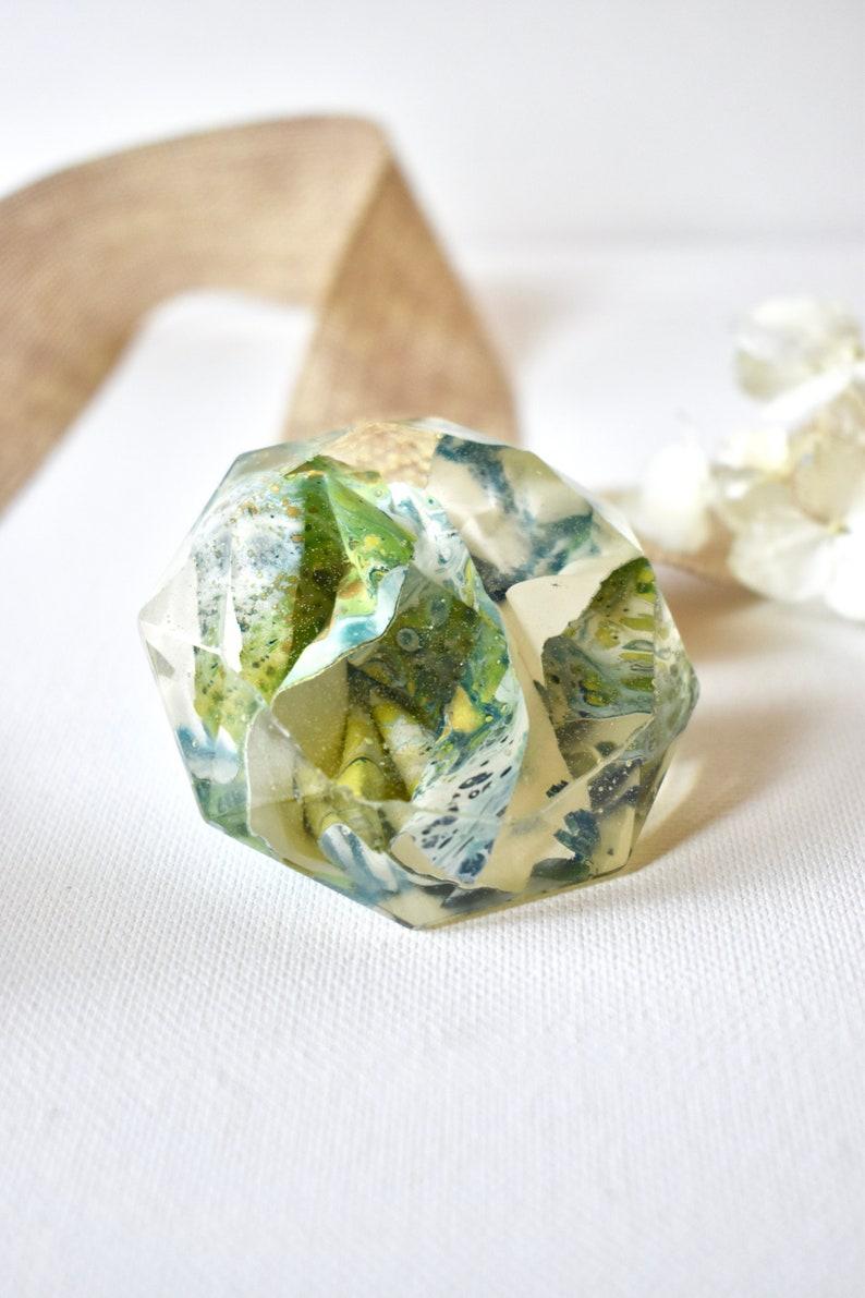 Resin Art  Diamond Paperweight Paperweight Flowers image 0