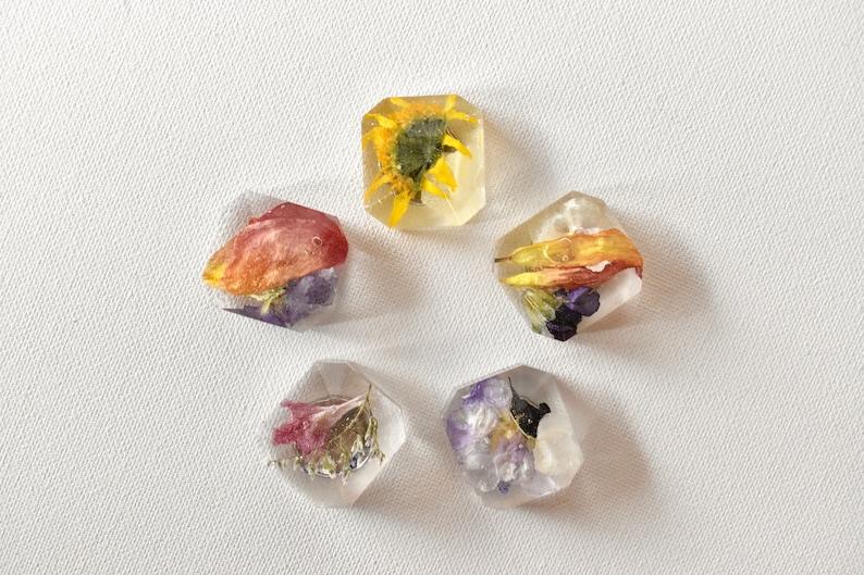 Floral Magnets Jewel Shaped Magnets Flower Magnets Set of 5 image 0