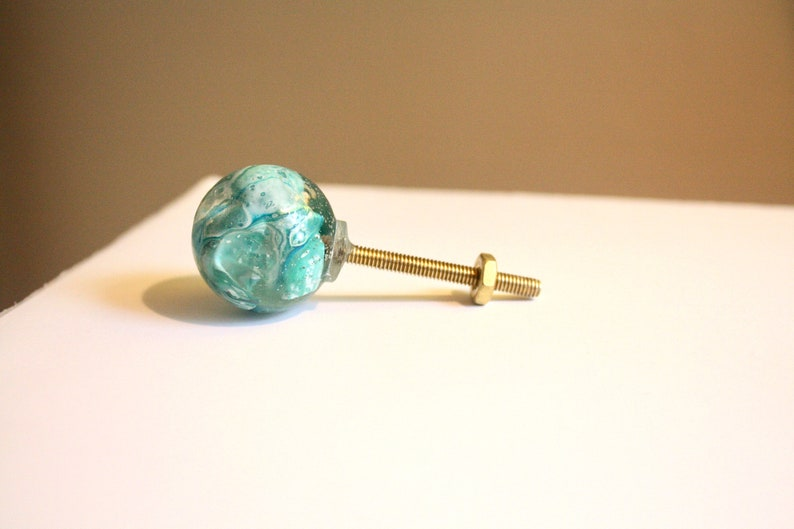 Abstract Drawer Pull  Round 1x1  Turquoise image 0