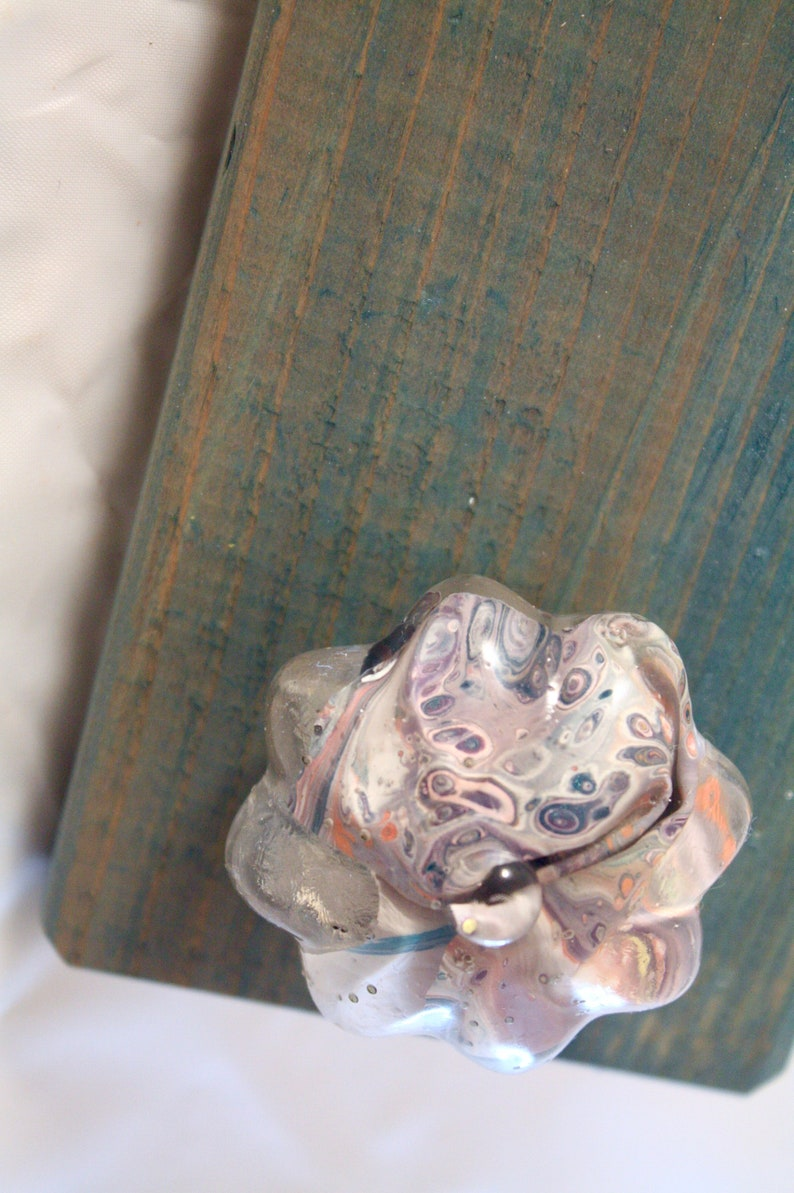 Abstract Drawer Pull  Floral Purple & Pink image 0