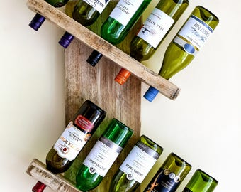 Reclaimed Wooden Rustic Wine Rack Wedding Gift Wall Mounted Wine Holder 6 , 10, 14 bottle storage