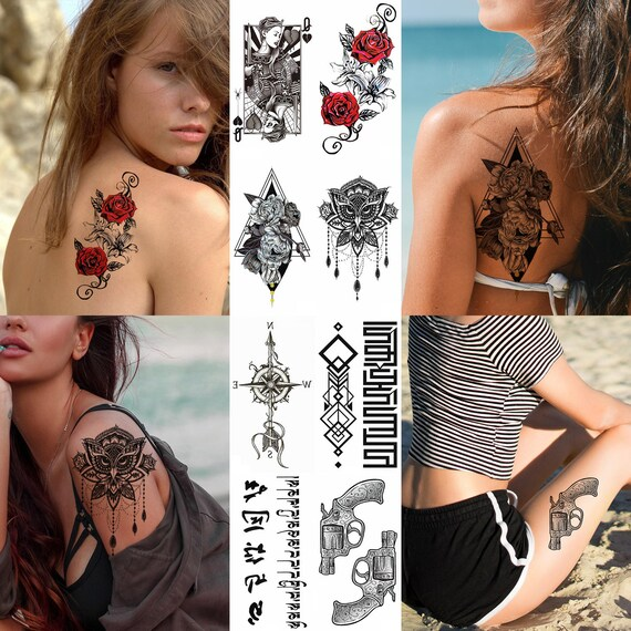 Femmes Tatouages Tatouages Sexy Faux Tatouage Stickers Fleurs Etsy