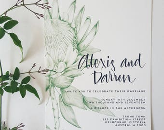 PROTEA Invitation/HANDDRAWN/Wedding invites/GREEN
