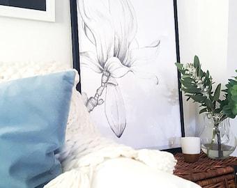 MAGNOLIA PRINT/Handdrawn Magnolia/Illustration/Pencil Drawing