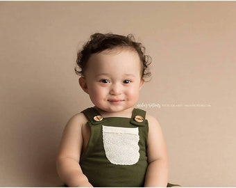 Green Baby Overalls - Toddler Overalls - Newborn Romper - Baby Romper - Cake Smash Outfit Boy - Hippie Baby - First Birthday Boy Outfit