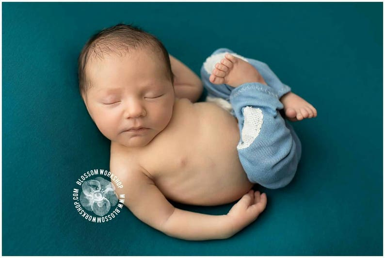 Blue Baby Pants  Baby Boy Clothes  Newborn Photo Prop  image 0
