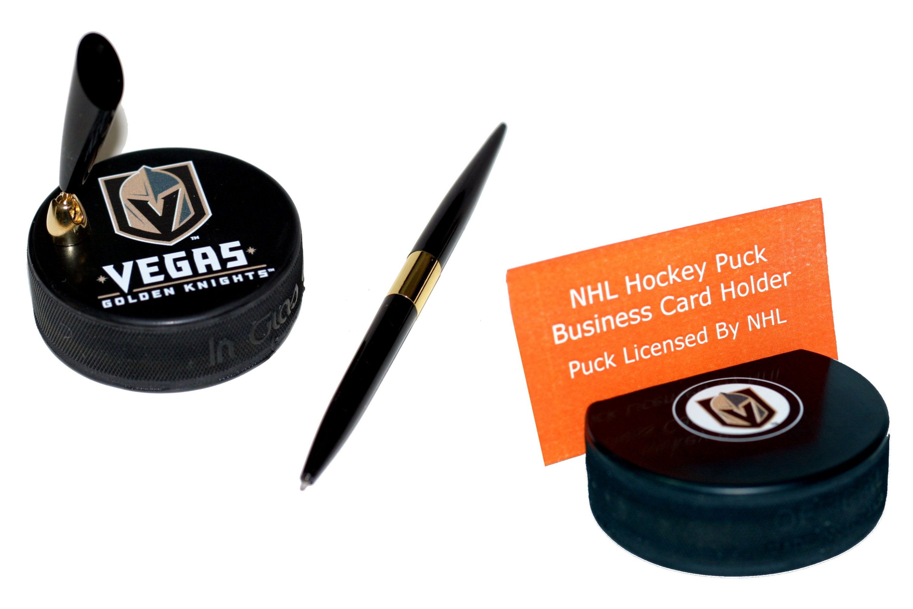 Las Vegas Golden Knights Hockey Puck Pen Holder And Business Card