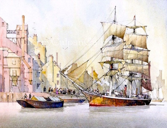 Ship Print Sea-going Marine Vessel Quayside Sailing Three Masted Barque  Entering Harbour Port Dockside Crowd Unique Home Office Wall Decor