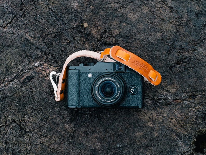 Small adjustable hand made leather  strap Leather Camera image 0