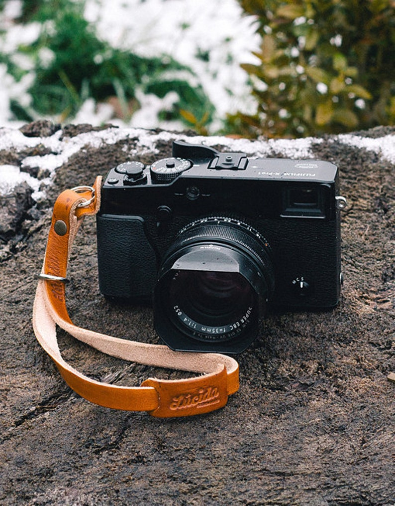 Classic hand made leather  strap Leather Camera Wrist Strap image 0