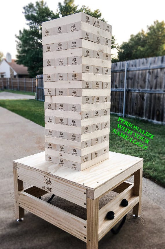 Jumbo Wood Stacking Blocks Large Wood Blocks Yard Game Etsy Best Lawn Game With Wooden Blocks