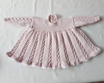ff1575f9a02 SALE Hand-knitted vintage 4 ply cable knit lace-trimmed dress size 3-6  months