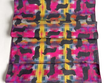 Long-haired dachshund cotton scarf, original fabric design, FREE SHIPPING