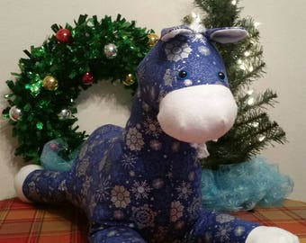 Snowflake Pattern Print Stuffed Horse, Holiday Plush