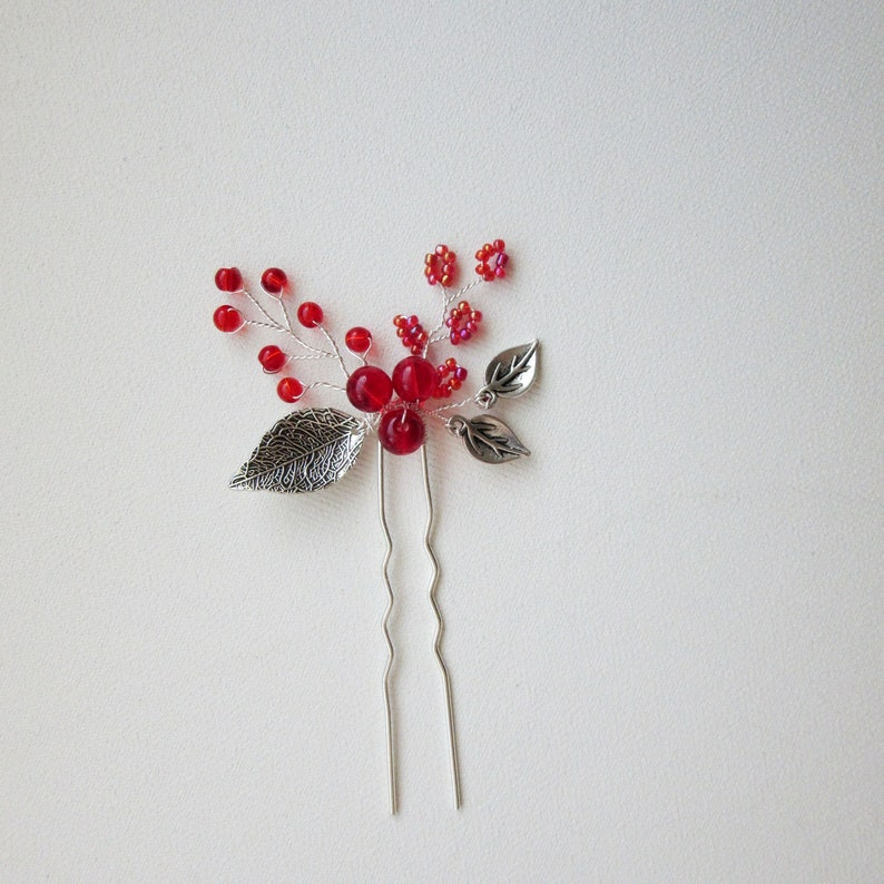 Silver Leaves Hair Pin Silver Red Hair Pin Red beaded Head piece Red Bridesmaids Hair Pin Red Prom Hair jewel
