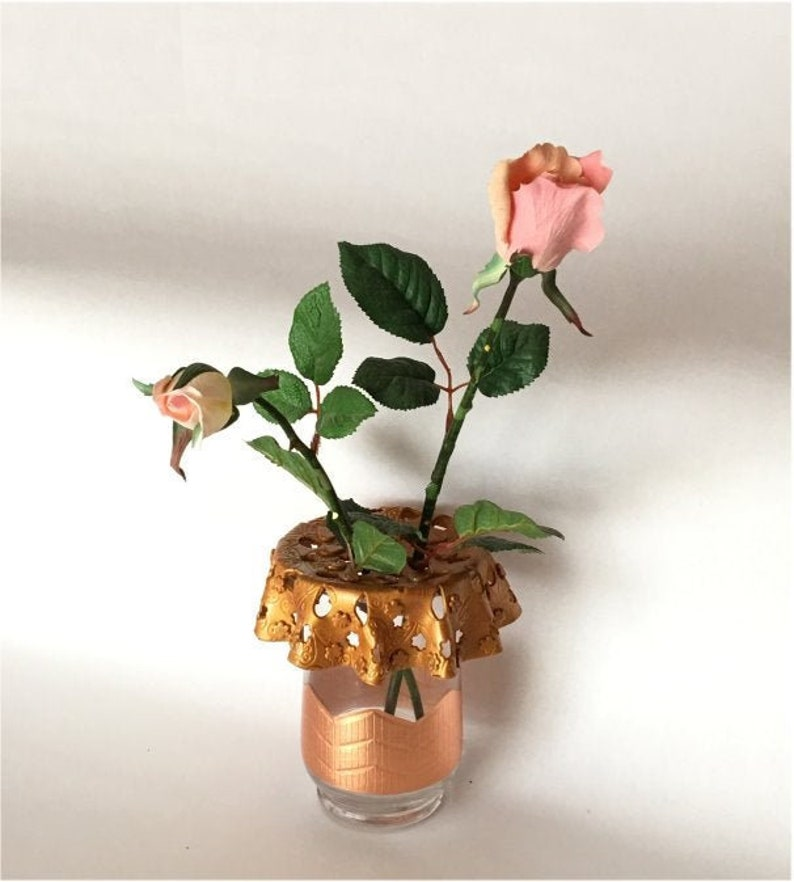 Vase with unique top. Hand made with polymer clay for your image 0