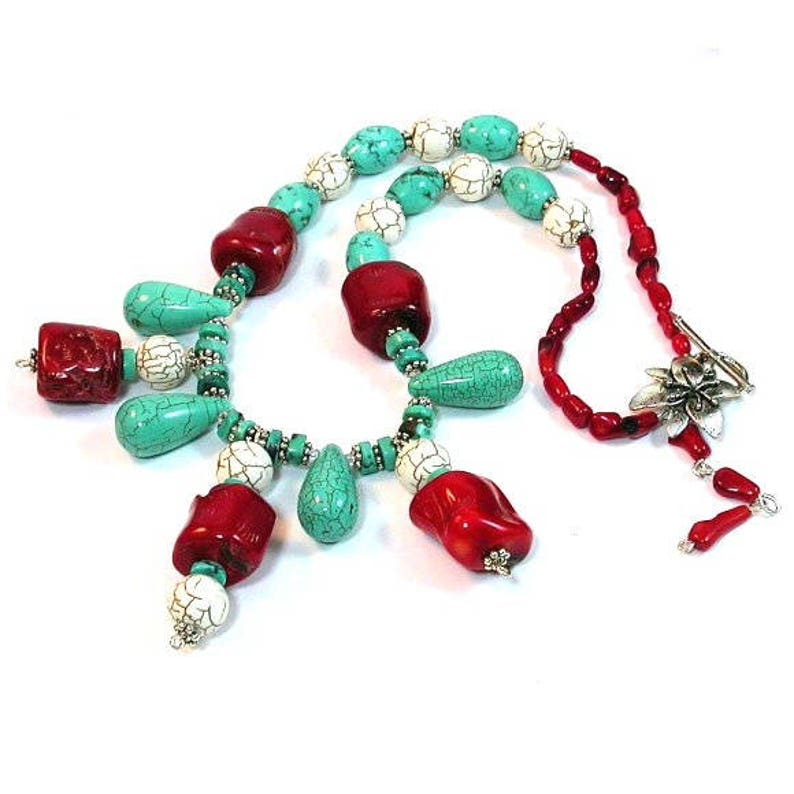 Necklace Genuine TURQUOISE necklace Hand-Made One of a kind  image 0