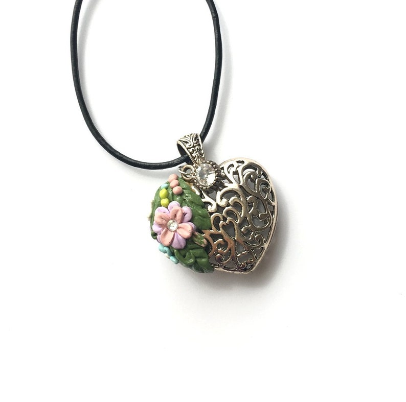 Necklace Pendant jewelry. Silver heart with polymer clay image 0