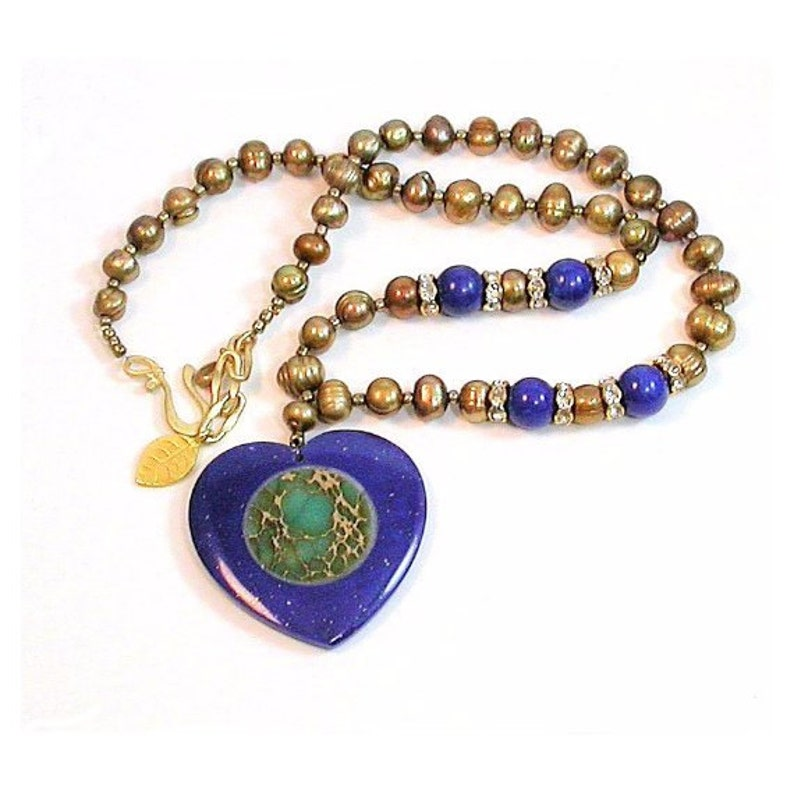 Necklace Lapis Luzari necklace and pendant  Fresh water high image 0