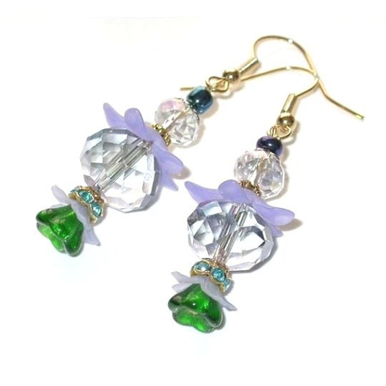 Flower Earrings Dangle Earrings. Handmade Multi-Colored Czech image 0