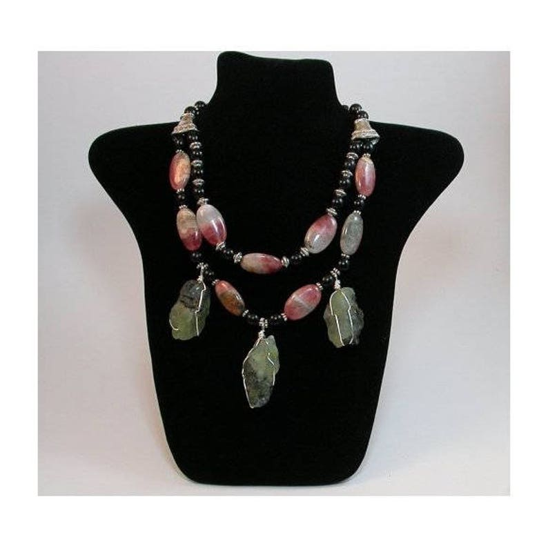 Necklace Hand Made Celebrity Necklace. Natural Rhodochrosite image 0