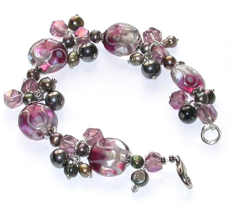 Hand-Made One of a kind Bracelet. Lamp work beads Fresh water image 0