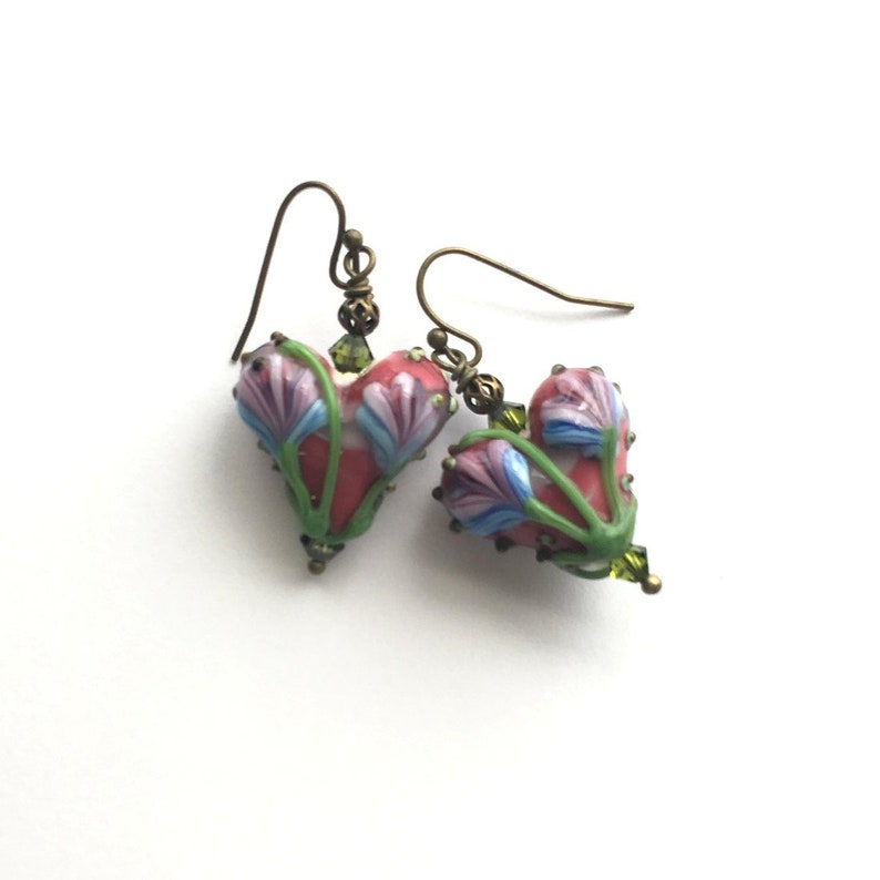 Earrings. Lamp works earring Pressed glass beads Glass fused image 0