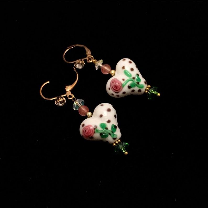 Earrings. Lamp works earrings glass beads Glass fused beads image 0