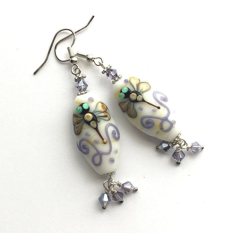 Earrings. Glass fussed Dragonfly. Lamp work beads with image 0