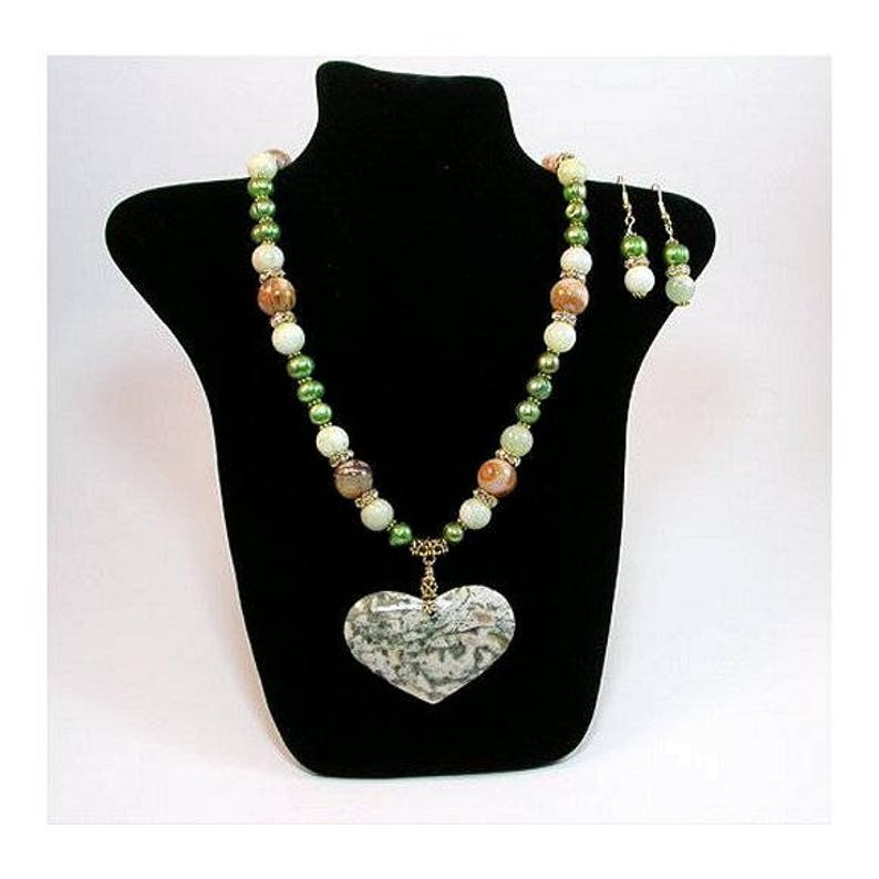 Original designer necklace Bamboo Agate Heart NECKLACE /& EARRINGS the wonderful gemstone Hand Made Necklace