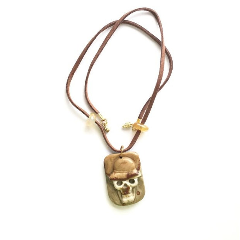 Halloween Necklace  Jewelry Unisex necklace hand carved image 0