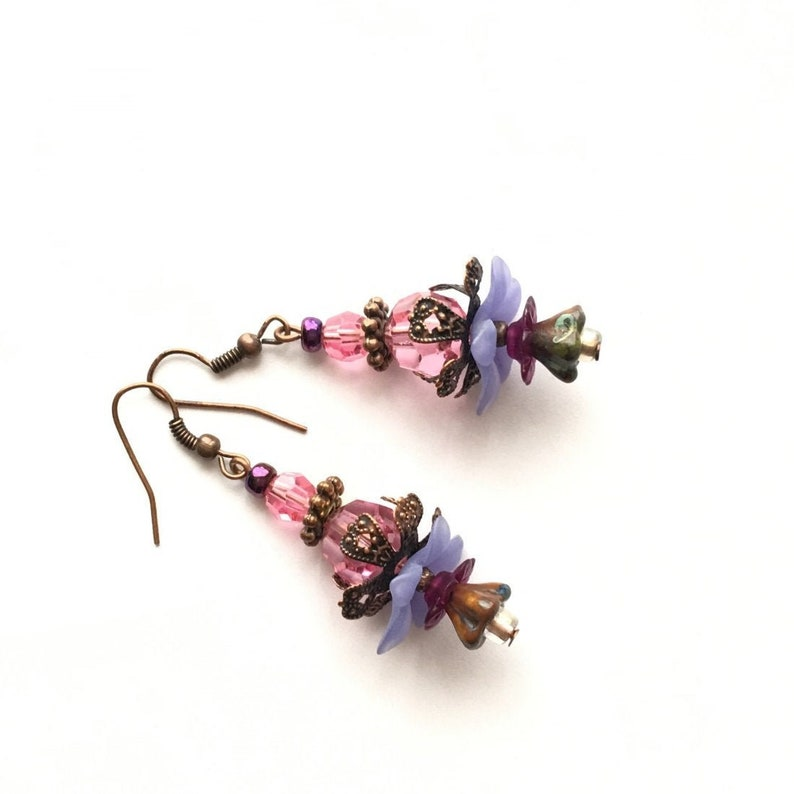 Flower Earrings. Handmade Multi-Colored Czech Bead Dangle image 0