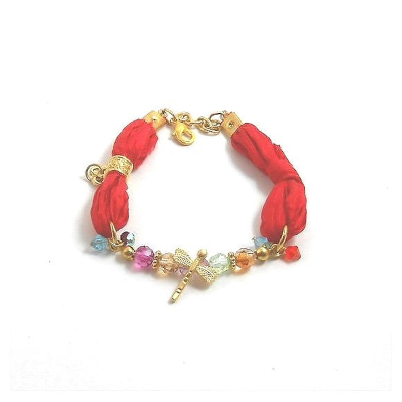 Silk Bracelet with Turkish charms Gold dragonfly key and image 0